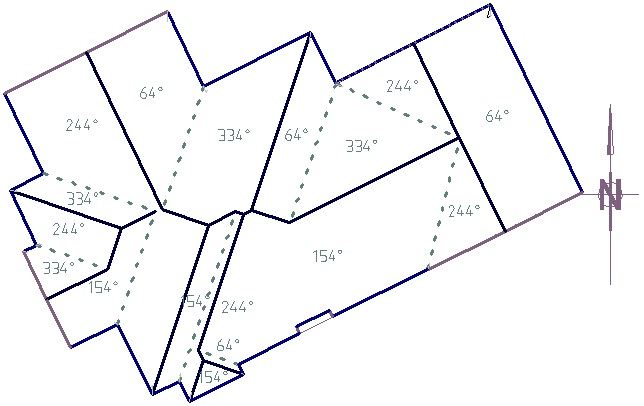 Azimuth angles on each roof plane