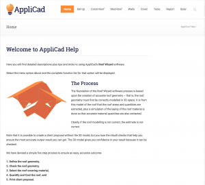 This image shows a screenshot of AppliCad Roof Wizard's User Manual Online Help Menu