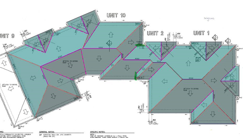 This image shows how barge lines can be used in AppliCad -Roof Wizard software
