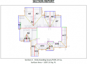 This image shows how the AppliCad metal roofing section report cuts metal roofs into sections