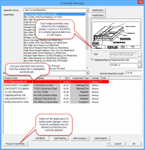 This image shows a screenshot of AppliCad Roof Wizard AssemblyManager