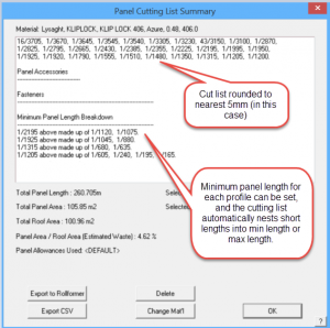 This image shows a screenshot of AppliCad Panel Cutting List Summary