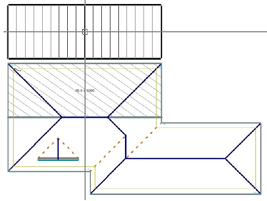 Image shows how to select a roof panel in Roof Wizard software for metal block-cutting