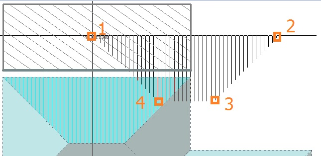 Image shows how to assign section names in Roof Wizard software for metal block-cutting