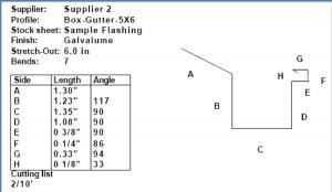 roof estimating details - AppliCad Cutting list detail
