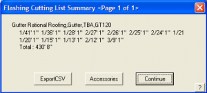 roof estimating details - AppliCad Export Flashing Cutting list