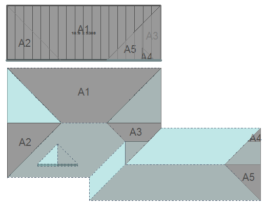 Image shows roof panels assigned with section cut numbers in Roof Wizard software for metal block-cutting