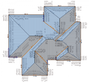 Image of metal roof 3D model with panel layout as produced by AppliCad Roof Wizard roofing software