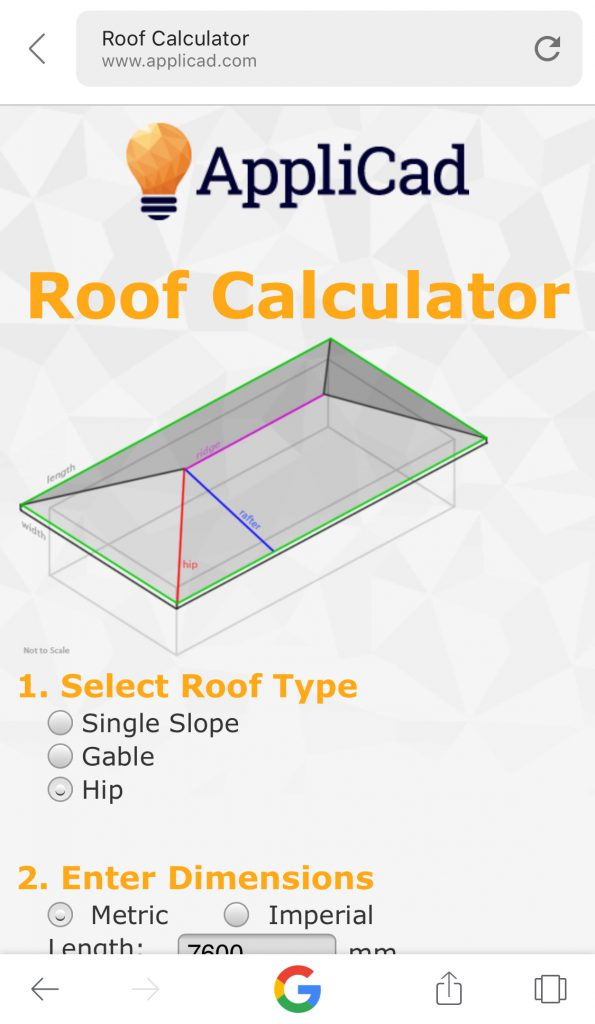 This image shows a screenshot of AppliCad Roof Calculator App