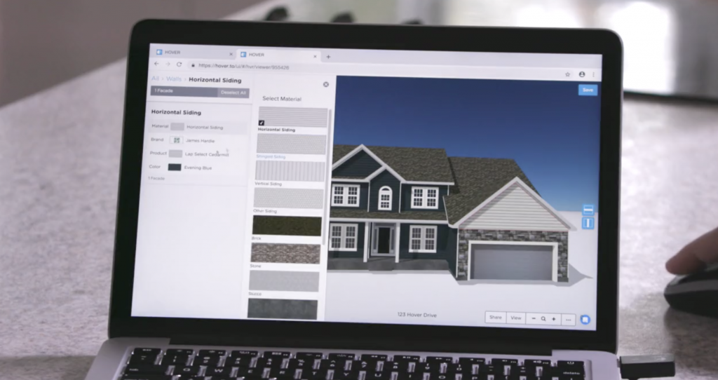 Hover's software shows clients what their roof design could look like, in AppliCad and HOVER collaboration