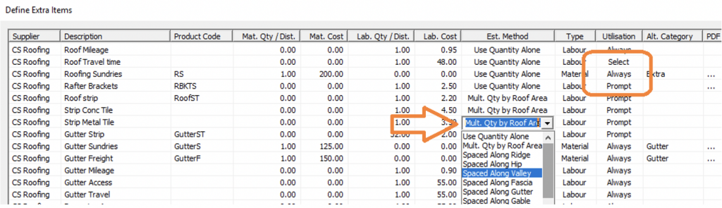 Screenshot of How to Define Extras in AppliCad Roof Wizard
