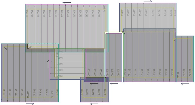 This image shows skillion metal roof panel cutting lists in Rood Estimating Software Roof Wizard