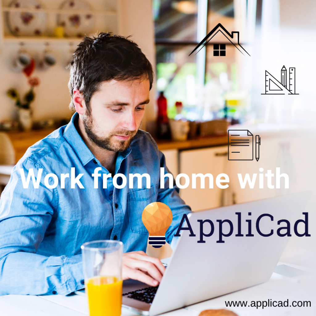 Person, working from home with AppliCad, on laptop